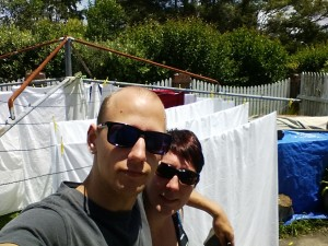 hanging the sheets and towels on the line... personal protective equipment needed = sunglasses!!